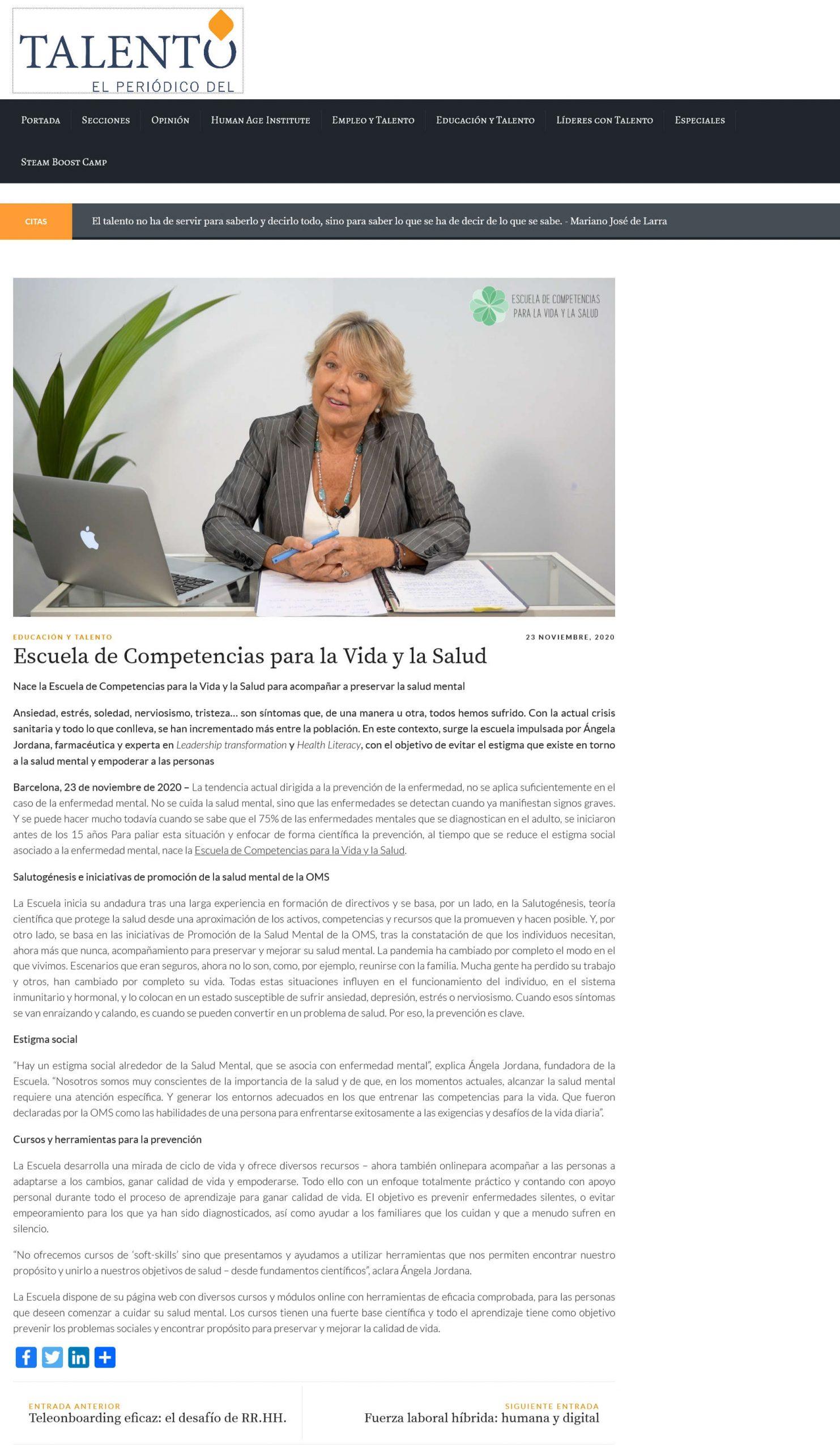 Aparición de la Escuela Competencias para la Vida y la Salud en el periódico del Talento